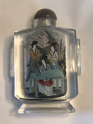 Antique Chinese Snuff Bottle Reverse Painted Glass Double Scene Ladies