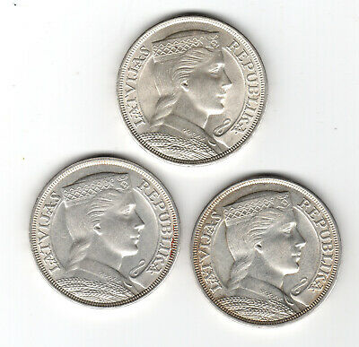 5 Lati coins 1929, 1931 and 1932 from Latvia high quality - free shipment