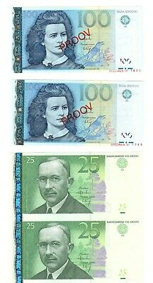 Uncut and Specimen bank notes 1999 - 2002 from Estonia UNC - Free shipment