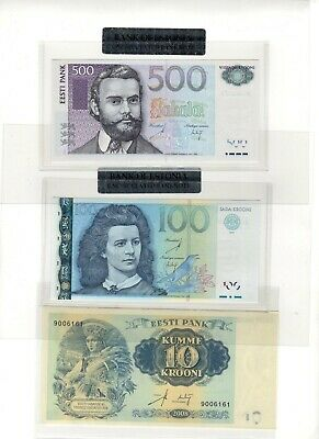 Eight bank notes 1999 - 2008 from Estonia UNC included 500 Krooni 2007 Free ship