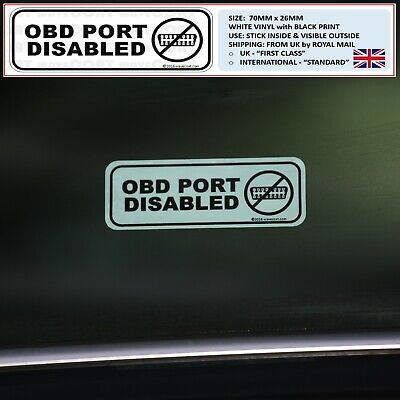 2 x OBD PORT DISABLED / SECURED window stickers decal JAGUAR, LAND ROVER, MERC