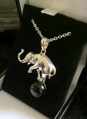 """Hand Crafted Sterling Silver /& Whitby Jet Elephant on Ball Pendant /&  18/"""" Chain"""