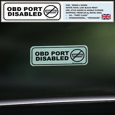 2 x OBD PORT DISABLED window stickers immobiliser fitted, protected deter theft