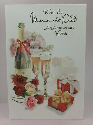 Mum Dad Colour inside Mum and Dad Anniversary Card Embossed Champagne Gifts