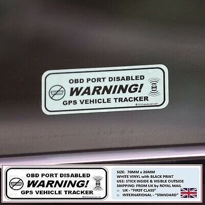 2 x WARNING: OBD PORT DISABLED & GPS VEHICLE TRACKER WINDOW STICKERS CANBUS FUSE