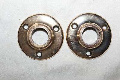 Pair of Heavy Cast Bronze Antique Round Door Nickled Knob Rosettes Escutcheons