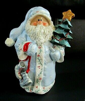 Old World Style Resin Santa, Blue Suit Trimmed In White, Hand Painted, 2002