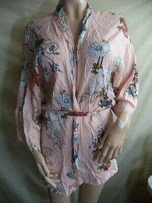 CUPSHE Woman's Belted Robe Pink with a Floral Print 100% Rayon XL NIP