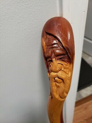Hand carved Art bent Wood Walking Stick Cane Wizard Staff Face old man