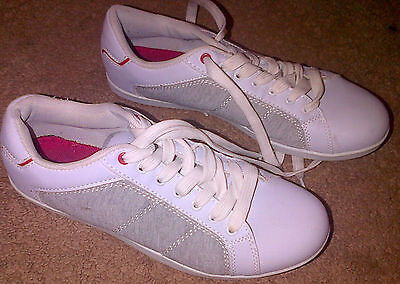 """F & F"" Size 8 White With Grey Pair Of Mens Trainers, Pumps Sport"