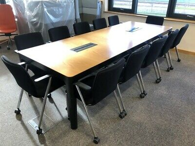 Beech Boardroom Meeting Table Integrated Cable Port