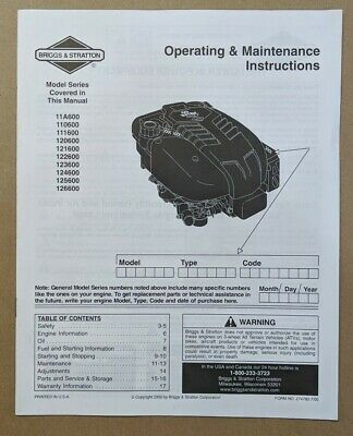 Briggs & Stratton Engine Operating & Maintenance Instructions