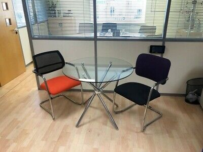 Round Glass Coffee / Meeting Table Chrome Frame