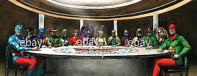 JUSTICE SOCIETY of AMERICA - SMALLVILLE LITHOGRAPH PRINT DC w 14 JSA Members