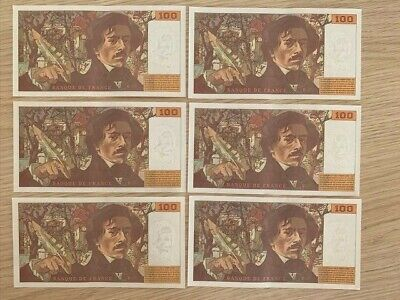 FRANCE: Set of 6 consecutive Numbers! 100 Francs Banknotes 1994 LOT Delacroix
