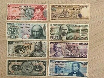 MEXICO: Set of 8 very attractive Mexican Banknotes 1969-1984 LOT