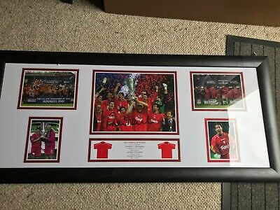 Authentic, Autographed Robbie Fowler Liverpool 2001 Treble Winners Framed Photo