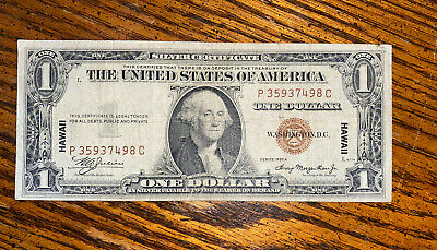 $1 1935 A Hawaii Silver Certificate War Time WWII  Emergency Issue!