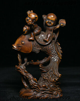 Collect Antique Chinese Natural Boxwood Wood Hand-Carving Fish Tongzi Boy Statue