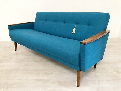 Danish Vintage Model 55 Mid Century 70S 3 Seat Cocktail Sofa Settee In Teal