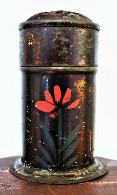 Rare 19th C Antique TINY Painted TOLEWARE Sugar SPICE Footed Tin Shaker FOLK ART