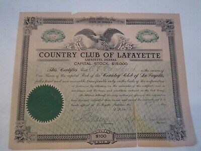1912 Country Club Of Lafayette Stock Certificate - Zzz