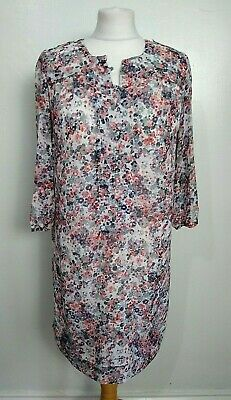 MARKS AND SPENCER Autograph M&S Size 10 GREY,ORANGE Floral TUNIC SHIRT DRESS