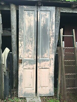 Vtg Pair  Solid Wood Shutter Door Panels Painted Shabby Pink 15in x 78in pannels