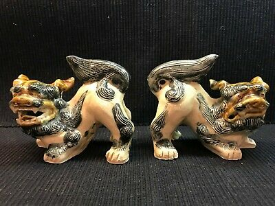 Vintage Pair Detailed Hand Crafted Clay Asian Foo/Lion Dogs