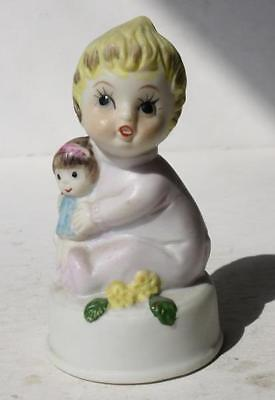 Little Girl Figure Holding Baby Doll w-Flowers Ceramic-Porcelain Hand Painted