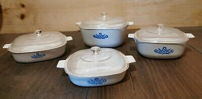 Vtg Corning Ware Plastic Set Of 4 1970s Kids Play Dishes W/lids