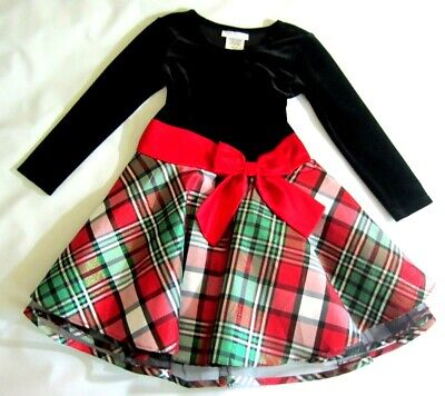 Bonnie Jean Girls 4/4T Dressy Dress Red Plaid Long Sleeves