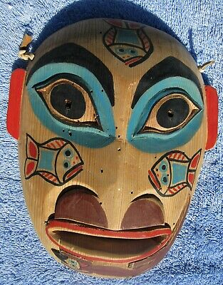 Pacific Northwest Coast Native American Indian Carved Painted Mask Inuit Vintage