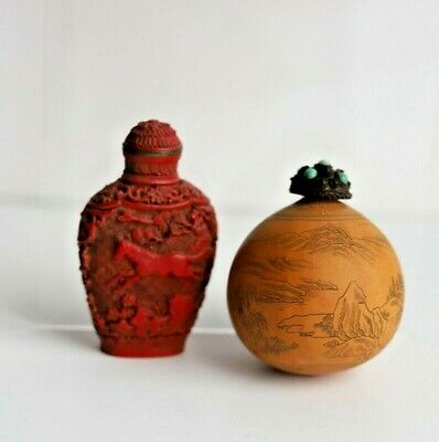 Two Antique Chinese Snuff Bottles, Etched Gourd and Carved Cinnebar with Horse
