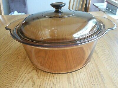 Corning Visions Pyrex Amber 5 Liter Covered Casserole Dish & Lid