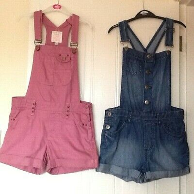 Girls Denim Shorts Dungarees (F&F Blue Age 10-11) OR (M&S - Dusky Pink Age 12-13