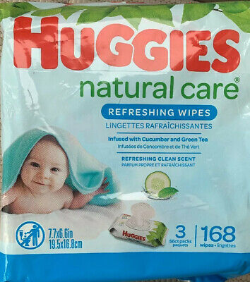 Huggies Natural Care Baby Wipes Lot of 3 56ct Each Pack (168 Total)