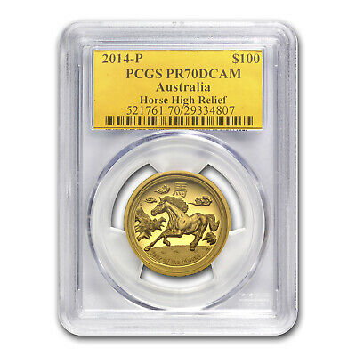 2014 Australia 1 oz Gold Horse PR-70 PCGS (Ultra High Relief) - SKU #79905