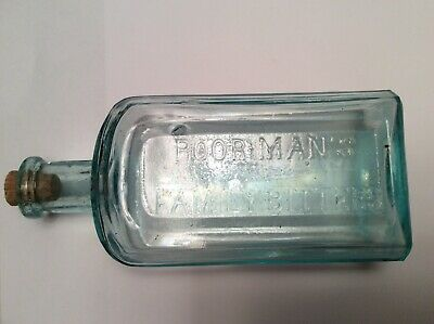 SCARCE Early 1870s Poor Mans Family Bitters Oswego,NY Aqua Bottle Medicine Cure