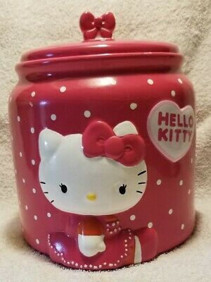 Hello Kitty Sanrio Pink Polka Dot Bow Cookie Jar.   ( Rare ) From 2012