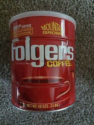 Vintage Folgers Metal Coffee Can With Lid 3 Lbs Mountain Grown Drip Grind