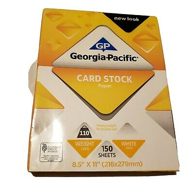 Georgia Pacific White Card Stock Paper 110 Weight  8 1/2 X 11 pkg of 150 sheets
