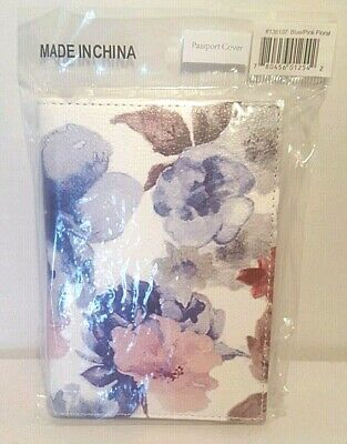 K. Carroll Passport Cover Vegan Leather Blue Pink Floral New Sealed*
