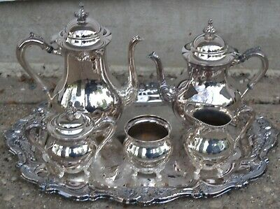 Vintage R.S. Co 1875 Silver Plate Tea Coffee Set w/ Oneida Silver Plated Tray