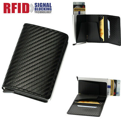 Genuine Leather Credit Card Holder RFID Blocking Cash Wallet Money Clip Purse