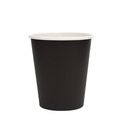 50x Paper Coffee Cup Single Wall Black 354mL/12oz Disposable Cups Hot Tea