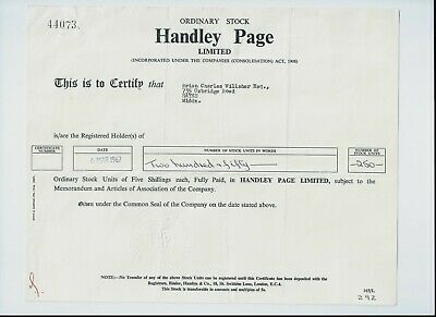 share certificate 1967 Handley Page Limited (aerospace manufacturer)