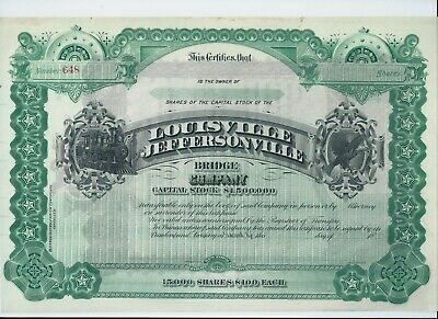USA stock / share certificate 18xx Louisville Jeffersonville Bridge Co - scarce