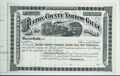 USA stock certificate 18xx Fulton County Narrow Gauge Railway