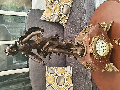 Antique French Marble Figural Mantel Clock 8Day Bell Striking Mantle Clock c1890